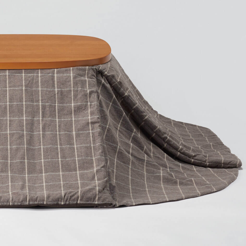 無地良品のこたつ布団:ブラウンチェック