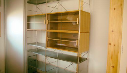 無印良品のユニットシェルフの食器棚。ステンレスと木の組合せがGood!