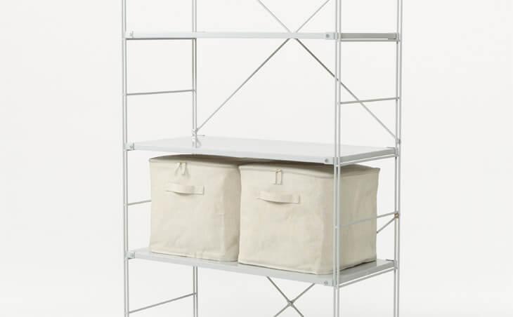無印 木の家 ユニットシェルフ 棚 カゴ 籠 収納 麻