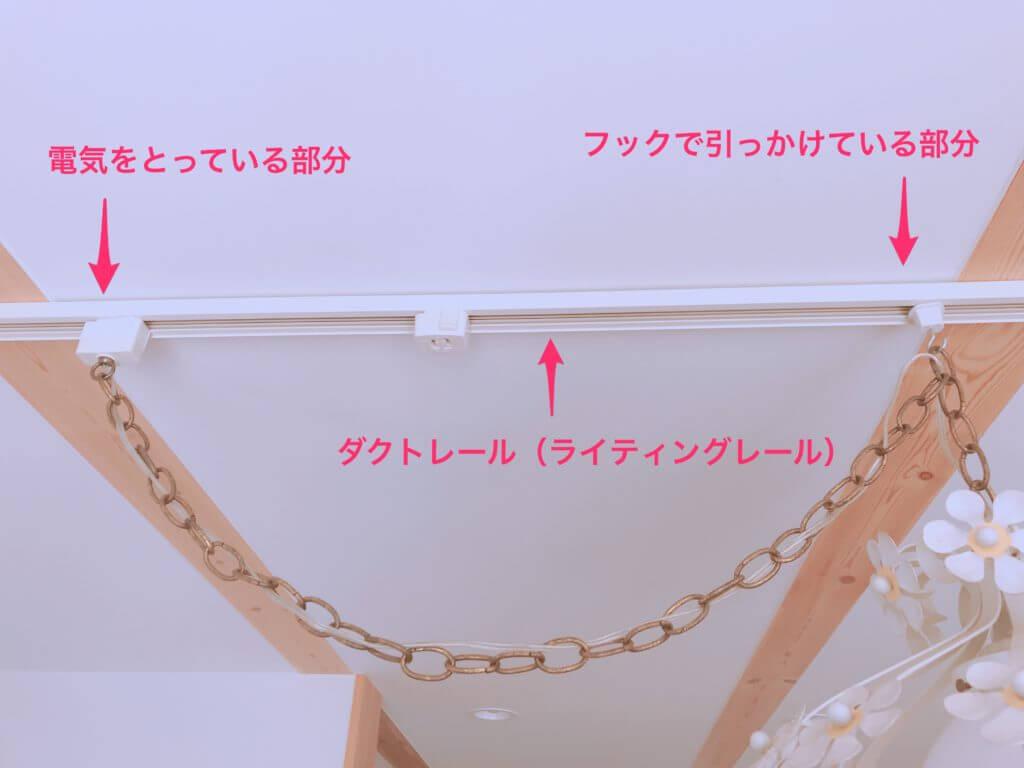 ダイニングのダクトレール(フック・コンセント)