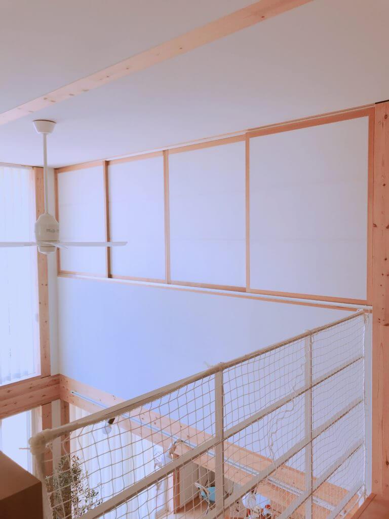 無印の木の家の寝室(障子の壁)