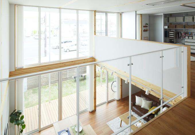無印の木の家の2階の腰壁
