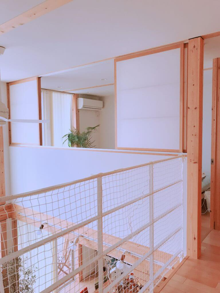 無印の木の家の柵(白い網)