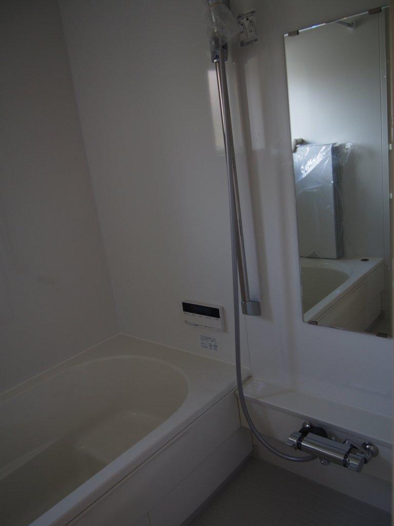 建築した、無印良品の木の家のお風呂場