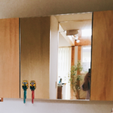 無印良品の家の洗面所の鏡