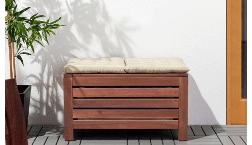 ウッドデッキに木製の収納を設置。おしゃれなベンチとしても大活躍!
