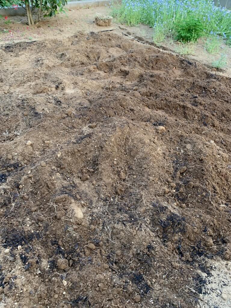 家庭菜園に必要な腐葉土を土に混ぜた