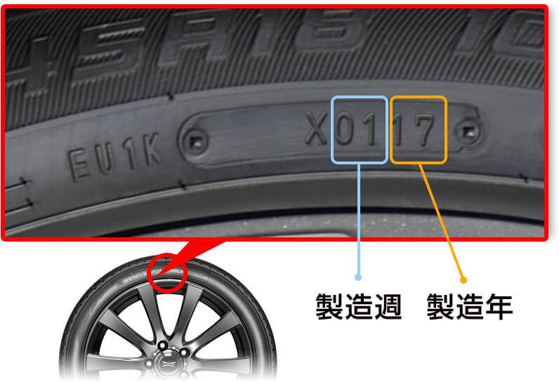 スタッドレスタイヤの製造年月日の確認方法