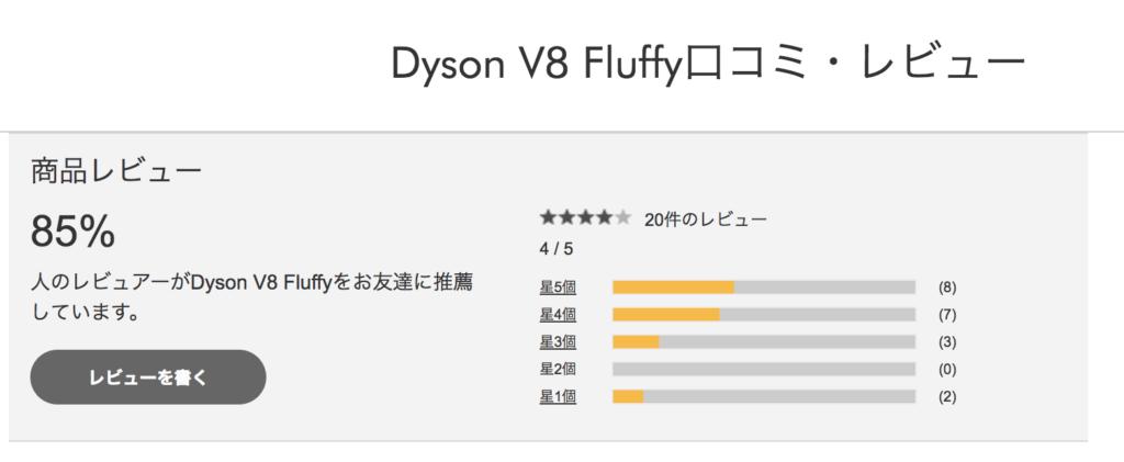 ダイソンコードレス掃除機V7 Fluffyの口コミ