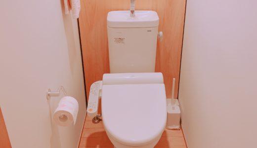 木の家に似合うシンプルなトイレ。木の収納がステキでお気に入り