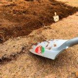 スコップで芝を剥がすところ
