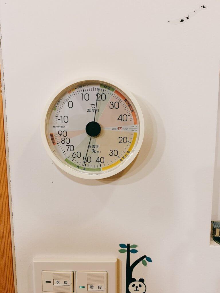 エンペックスのアナログ式温湿度計の設置した写真(アップ)