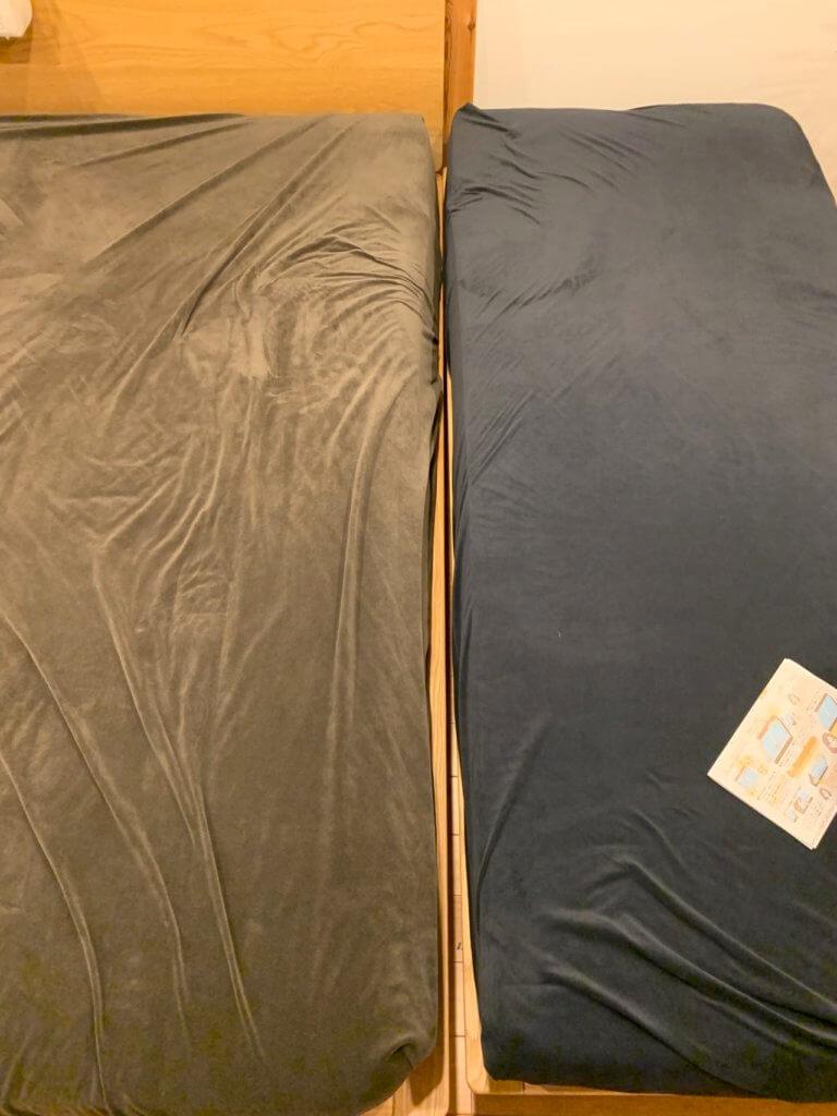 無印良品のベッドを2つ連結した写真