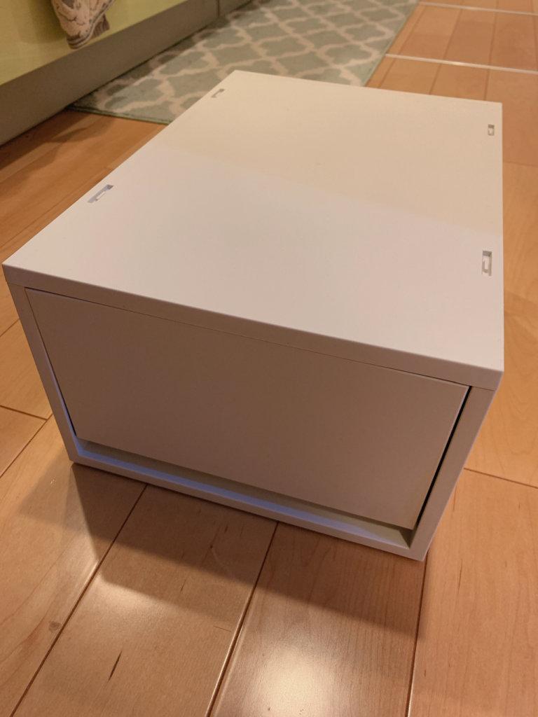 洗面台下用の無印良品の収納、ホワイトの大きな引き出し