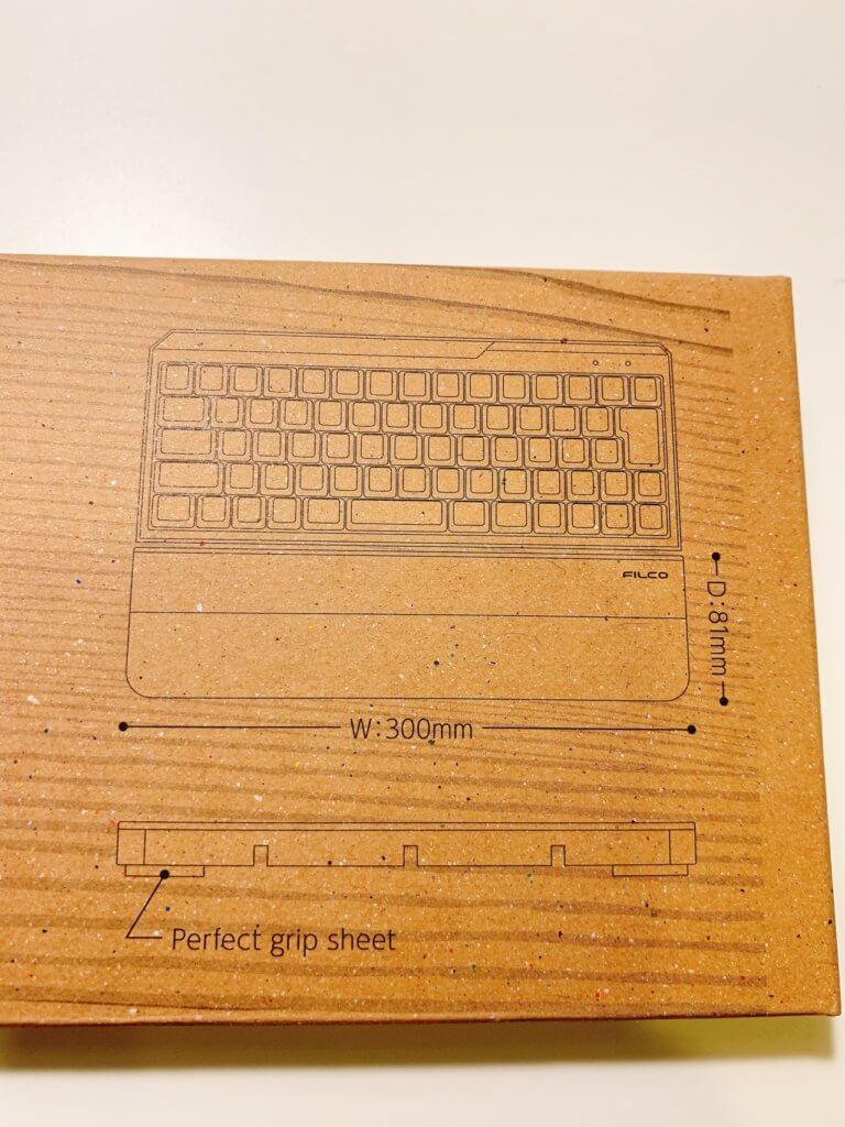 FILCO 木製キーボードリストレストの外箱の説明書き