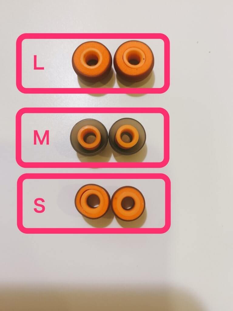 Symbio Eartipsの3サイズ