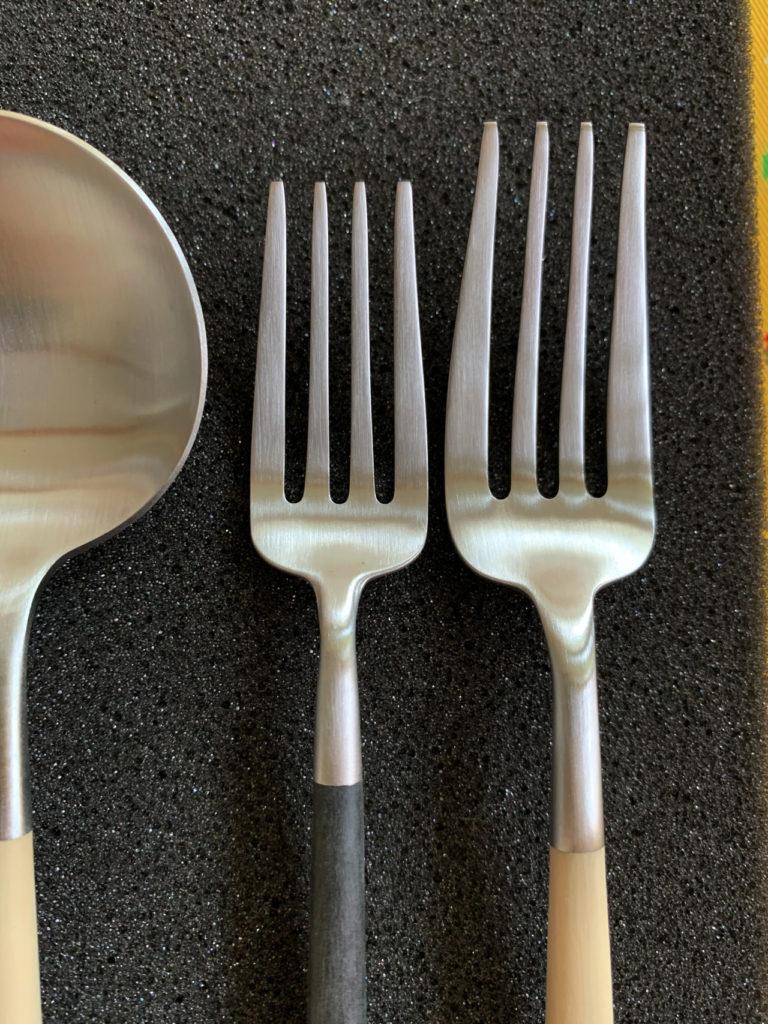 クチポール GOAのディナーフォークとデザートフォークの大きさの違いを比較