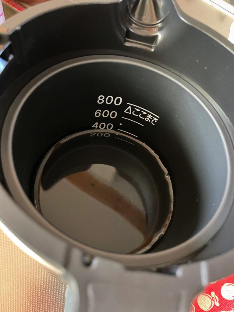 象印の電気ケトルCK-AX02のお湯を入れて速度を実験