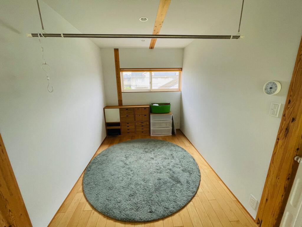 無印良品の木の家にある、洗濯物を干す場所のフリースペース